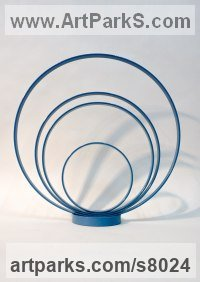 Steel Repetitive Form / Shape Abstract Sculptures / Statues sculpture by Philip Melling titled: 'Loop XVI (Concentric Circles blue abstract sculptures)'