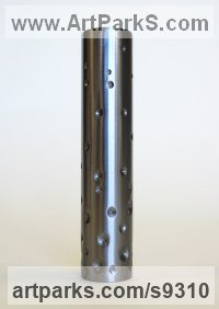 Steel & Resin Organic / Abstract sculpture by Philip Melling titled: 'Weldvessel (Drilled) - Contemporary Metal Vase'