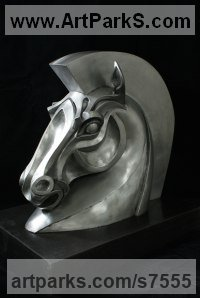 Resin Horses Heavy / Working Shire, Plough, Dray, Barge, Horses Sculptures Statues statuettes commissions sculpture by Philip Thompson titled: 'Trojan Horse (Horse Bust Head statues sculptures)'