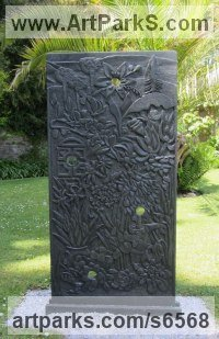 Carved Slate Abstract Modern Contemporary sculpture statuettes figurines statuary sculpture by sculptor Pippa Unwin titled: 'Quest to Amaze (Carved Low relief Floral Plaque/Panel carving statue)'