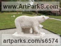 Portland Roach Stone Bears sculpture by sculptor Pippa Unwin titled: 'Polar Bear and Cubs (Carved stone Walking sculpture statuary)'