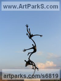 Bronze Couples or Group sculpture by Plamen Dimitrov titled: 'Attempt to fly (bronze garden/Indoor Falling Figures statuette statues)'