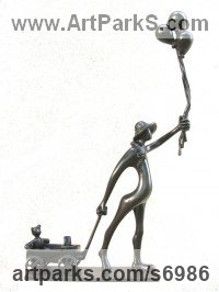 Bronze Humorous Witty Amusing Lighthearted Fun Jolly Whimsical Sculptures Statues statuettes figurines sculpture by Plamen Dimitrov titled: 'Fair (Happy Child and Balloons and Cart and Toys statuette statue statue)'