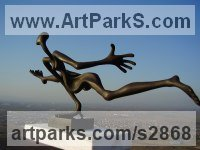 Bronze Indoor Inside Interior Abstract Contemporary Modern Sculpture / statue / statuette / figurine sculpture by Plamen Dimitrov titled: 'Hurdler (Light Hearted Athlete Hurdler statuette)'