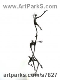Bronze Human Form: Abstract sculpture by Plamen Dimitrov titled: 'New Sidewind (abstract Caricature Amusing sculpture)'