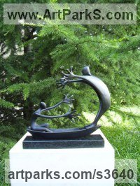Bronze Parent - Child sculpture by Plamen Dimitrov titled: 'Striving (bronze Couple in a Boat statue/statuette)'