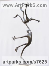 Bronze Abstract Modern Contemporary Avant Garde Sculptures Statues statuettes figurines statuary both Indoor Or outside sculpture by Plamen Dimitrov titled: 'Water World (bronze Semi abstract Skindivers and Frog Flippers satatue)'