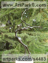Bronze Abstract Contemporary Modern Outdoor Outside Garden / Yard Sculptures Statues statuary sculpture by Plamen Dimitrov titled: 'Wuthering Heights (female abstract Bronze statue)'