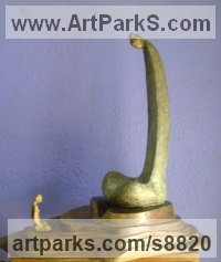 Bronze Human Form: Abstract sculpture by Prabir Roy titled: 'Meditation'