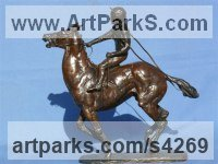 Bronze Horse Sculpture / Equines Race Horses Pack HorseCart Horses Plough Horsess sculpture by sculptor Priscilla Hann titled: 'Fiasco 2 (Little Grand National Racehorse and Jockey sculpture/statuette)'