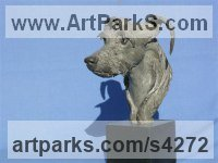 Bronze on slate Domestic Animal sculpture by Priscilla Hann titled: 'Portrait of Raffles (bronze Commission Pet Dog statue)'