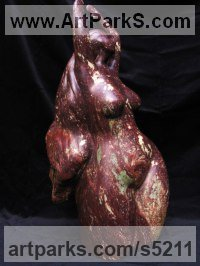 African Cobalt stone Gods or Goddess, or Deity sculpture by Rachael De Freitas titled: 'Dancing Goddess- Fire in the Belly! nude Dancer Carved stone sculpture'