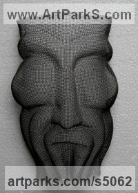 Wire mesh Grotesque Sculptures / Statues / figurines to order Commission Custom Bespoke sculpture by Raghavendra Hedge titled: 'mask 2 (Face sculpture in Chicken Wire Mesh Wall Hung)'