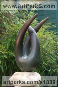 Bronze resin Abstract Modern Contemporary sculpture statuettes figurines statuary sculpture by sculptor Ray Castell titled: 'Locked Horns (Bronze abstract garden/Yard/Indoor/Outdoor statuettes)'
