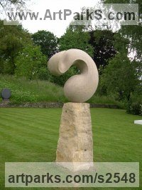 Modern Abstract Contemporary Avant Garde Sculpture or Statues or statuettes or statuary by sculptor artist R�gis Chaperon titled: 'The Winner (Carved stone abstract garden sculptures)' in Clipsham stone