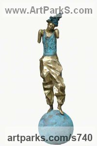 Circus / Stage Performer Sculpture or Statues by sculptor artist Reka Krisztina Csapo Dup titled: 'CIRCUS III (Clown on Ball abstract statue)' in Bronze