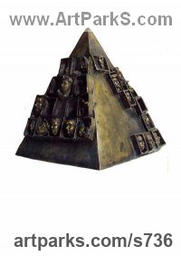 Stylised Heads / Busts Sculpture by sculptor artist Reka Krisztina Csapo Dup titled: 'PYRAMIDE' in Bronze