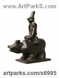 Bronze Abstract Modern Contemporary Avant Garde sculpture statuettes figurines statuary both Indoor Or outside sculpture by sculptor Remi Dimitrov titled: 'Forest Walk (Small Man Top Hat Bear Riding statue)'