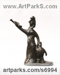 Bronze Abstract Modern Contemporary Avant Garde Sculptures Statues statuettes figurines statuary both Indoor Or outside sculpture by Remi Dimitrov titled: 'Freedom (Little Mother and Child Wild Bird statues)'