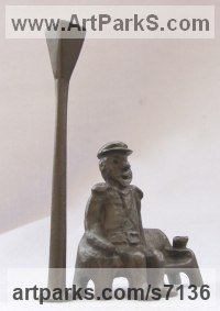 Bronze Military, Soldiers, Sailors, Marines Airmen and Military Equipment sculpture by Remi Dimitrov titled: 'Old captain (Seated Old Man and Lamp sculpture statue)'