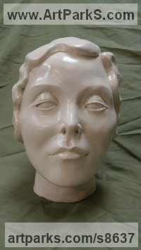 Resin Composite Females Women Girls Ladies Sculptures Statues statuettes figurines sculpture by Richard Austin titled: 'Arte Deco (female Head Bust Limited Edition statue)'