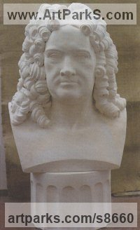 Herculite stone Portrait Sculptures / Commission or Bespoke or Customised sculpture by Richard Austin titled: 'Bust of Handel (Carved stone Bust Over life Suze Bust)'