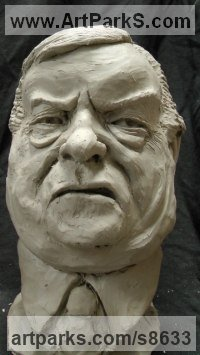 Resin Composite Humorous Witty Amusing Lighthearted Fun Jolly Whimsical Sculptures Statues statuettes figurines sculpture by Richard Austin titled: 'Bust of John Prescott (Satirical Caricature statue)'