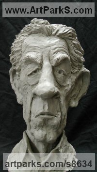 Resin Composite Humorous Witty Amusing Lighthearted Fun Jolly Whimsical Sculptures Statues statuettes figurines sculpture by Richard Austin titled: 'Bust of Sir Ian McKellen (Caricature Portrait statue)'