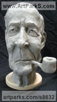 Ceramic Historical Character Statues / sculpture by Richard Austin titled: 'Bust of Tony Benn (Caricature Portrait Head statue)'