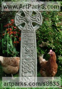 Reconstituted stone Religious sculpture by Richard Austin titled: 'Celtic Cross (Traditional Interpretation Grave statue)'