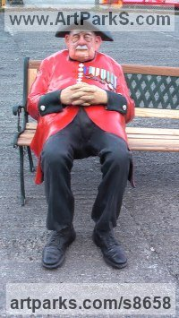 Resin Composite Lifelike Realistic Human sculpture by Richard Austin titled: 'Chelsea Pensioner (Colourful Caricature life size statue)'