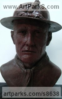 Resin Composite Human Figurative sculpture by Richard Austin titled: 'Cornish Miner Bust (Iconic Commemorative sculpture)'