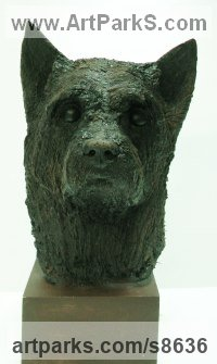 Cold cast bronze Dogs sculpture by Richard Austin titled: 'Head of Terrier (Pet Portrait Head Bust sculpture)'