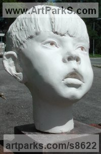 Cast marble Reserved Reticent Aloof Withdrawn Introspective Calm sculpture statue statuette sculpture by Richard Austin titled: 'Richard aged 6 (Child Small Portrait sculpture)'