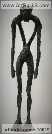 Bronze resin Figurative Abstract Modern or Contemporary Sculptures Statues statuary statuettes figurines sculpture by Richard Austin titled: 'Sorrow (Contemporary abstract Stick Person statue)'