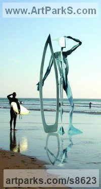 Composite material Human Form: Abstract sculpture by Richard Austin titled: 'Warrior of the Surf (Large abstract Surfer statue)'
