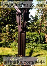 Monumental Sculpture by sculptor artist Richard Fenton titled: 'Transformation II (Modern bronze Contemporary Tall abstract sculpture)' in Black resin