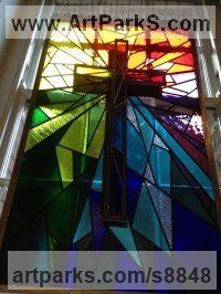 Glass, Lead and Steel Religious sculpture by Richard Field titled: 'Crucifixion (Coloured Stained Glass Church Window)'