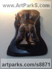 Glass, Nudes / Male sculpture by Richard Field titled: 'Male Silhouette series (nude Torso Glass sculptures)'