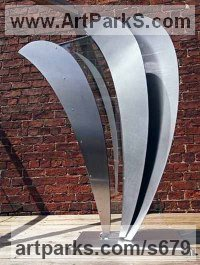 Stainless Steel Abstract Modern Contemporary Sculptures Statues statuettes figurines statuary sculpture by Richard Thornton titled: 'Inception (Modern stainless Steel garden statue)'