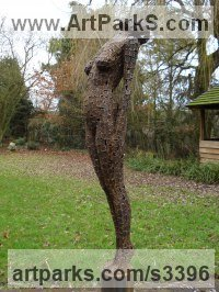Mild Steel plate Nude sculpture statue statuette Figurine Ornament sculpture by Rick Kirby titled: 'The Call (Metal Welded Plate nude garden Outdoor statue)'