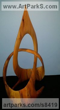 Cherry Wood Minimalist Understated Abstract Contemporary Sculpture statuary statuettes sculpture by Robert Coia titled: 'Celtic Triple Knot (Carved Fruit Wood abstract statue)'