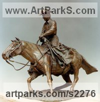 Horse and Rider / Jockey Sculpture / Equestrian Sculpture by sculptor artist Robin Bell titled: 'Chunky Cutting Maquette (Cowboy Horse sculpture statuette statue)' in Bronze