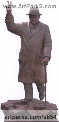 Cast bronze Historical Character Statues / sculpture by Robin Bell titled: 'Churchill (Bronze Big Standing with V Sign sculptures)'