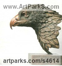 Bronze Animal Birds Fish Busts or Heads or Masks or Trophies For Sale or Commission sculpture by Robin Bell titled: 'Goldie (Big Golden Eagle Bird of Prey Head sculptures)'