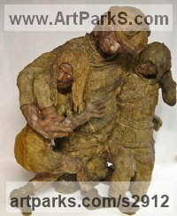 Burlap & Winterstone & Encaustic Children Child Babies Infants Toddlers Kids Sculptures Statues statuettes figurines sculpture by Roger Golden titled: 'Falling Down (Intoxicated People sculptures statues)'