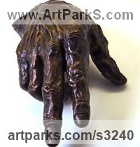 Bronze (#1); Winterstone (cement) (#2) Outsize, Very Big, Extra Large and Massive sculpture by Roger Golden titled: 'Hand (Big Outsize bronze Human Hands sculpture statue)'