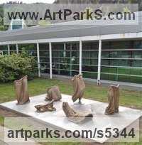 Resin Installation sculpture by Roger Golden titled: 'Sack Race (abstract Contemporary Sack Race statues)'