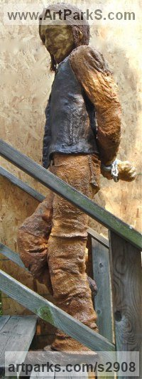 Burlap & Winterstone & Encaustic Human Figurative sculpture by Roger Golden titled: 'The Pleaser'