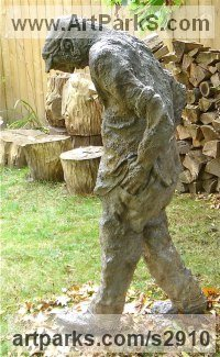 Burlap & Winterstone (cement) Human Figurative sculpture by Roger Golden titled: 'Walking Man'